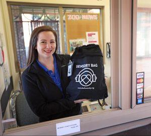 Zoo staff holding a sensory bag