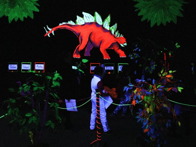 Black light painting of Stegosaurus at Boo at the Zoo