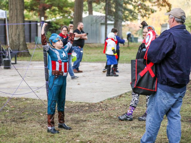 Young boy dressed as Captain America at Boo at the Zoo